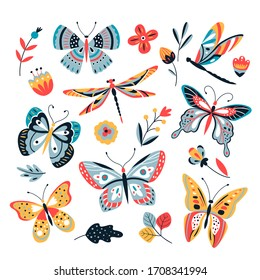 Butterfly on flowers. Insect dragonflies butterflies moth and flower hand drawn, sketch isolated set