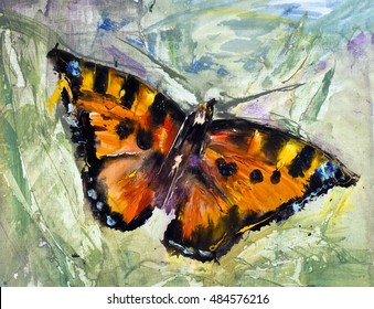 Butterfly on the grass oil canvas, modern contemporary art, watercolor painting, pictorial art, Russian art trend