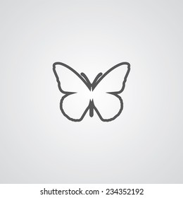 butterfly outline thin symbol, dark on white background, logo, creative template