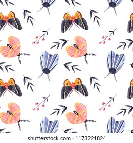 butterfly pattern, insect pattern, bugs, moths, watercolor butterfly pattern, illustration, background, white background, watercolor insects, flowers, plants, grass, wings, natural