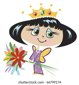 """Butterfly Princess with Flowers This image also available as vector art. Please search under """"vector only""""."""
