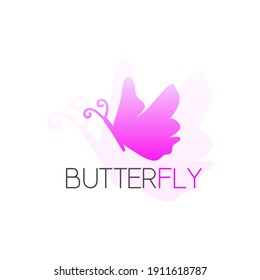 Butterfly shape with pink and white color concept