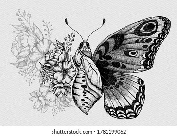 Butterfly tattoo design with flowers.Turning chrysalis into butterfly.Birth of butterfly from cocoon.Butterfly with wing of flowers.Illustration for t-shirt, tattoo, poster, pillow.