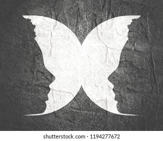 A butterfly or two face profile view. Optical illusion. Human head make silhouette of insect