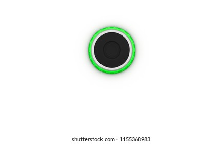Button black with green ring on white background 3d illustration