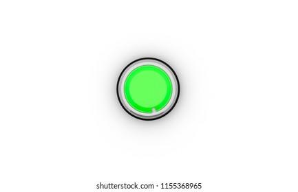 Button green black ring on white background 3d illustration