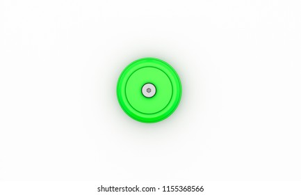 Button green with cog wheel on white background 3d illustration