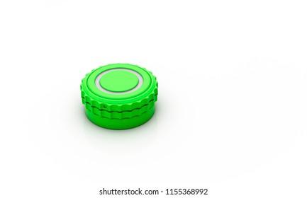 Button green cog wheel on white background 3d illustration