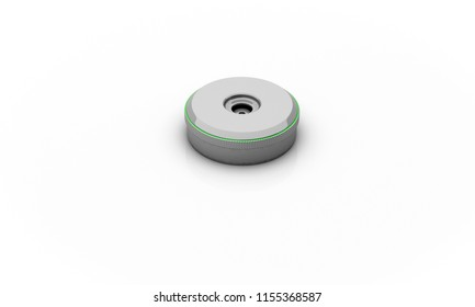 Button green on white background 3d illustration