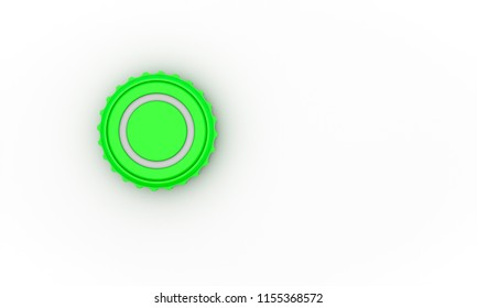 Button green screw on white background 3d illustration