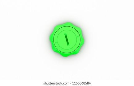 Button green star on white background 3d illustration