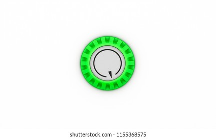 Button green turning with arrow on white background 3d illustration