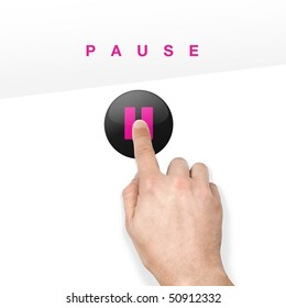 button on glossy touchscreen pressed with finger