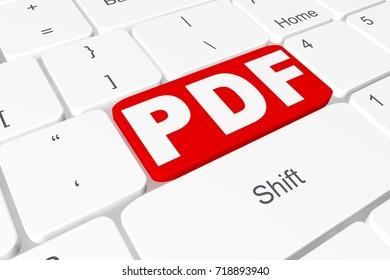 "Button ""PDF"" on 3D keyboard"