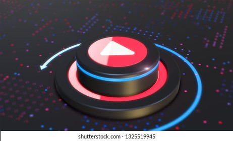 Button Play media video content 3D illustration