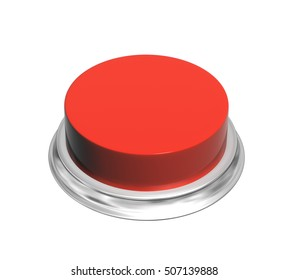 Button of red color. Object isolated on white background. 3d render