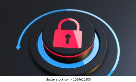 Button security access to personal information 3D illustration