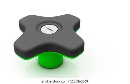 Button star black on white background 3d illustration