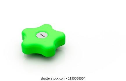 Button star green on white background 3d illustration
