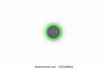 Button wheel green ring on white background 3d illustration