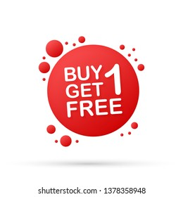 Buy 1 Get 1 Free, sale tag, banner design template.  stock illustration.