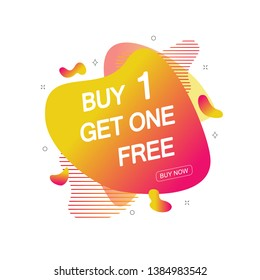 Buy 1 Get One Free sale tag. Banner design template for marketing. Special offer promotion or retail. illustration