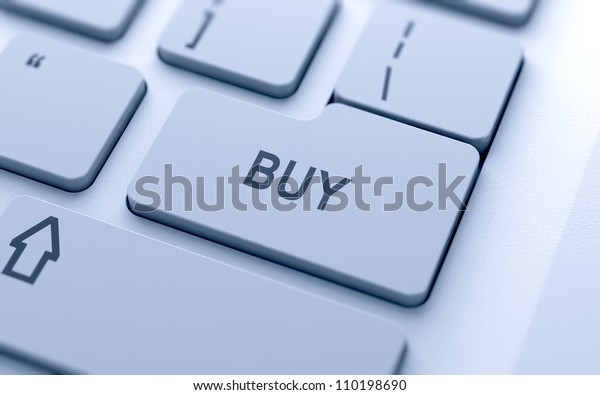 Buy button on keyboard with soft focus