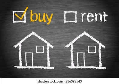 Buy a House - Real Estate concept chalkboard