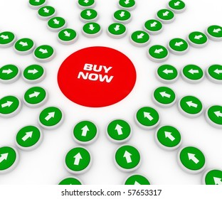 buy now button with green arrow on white background