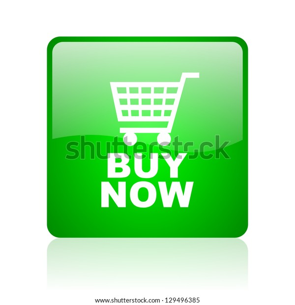 buy now green square web icon on white background