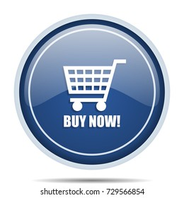 Buy now text shopping cart blue round web icon. Circle isolated internet button for webdesign and smartphone applications.