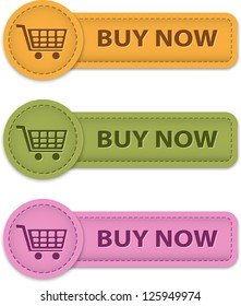 Buy Now web labels for shopping made of leather