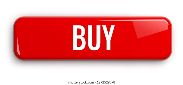 Buy Red Label Button. Rectangular Isolated 3D Banner.