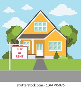 Buy or rent the house. Real estate house for purchasing.