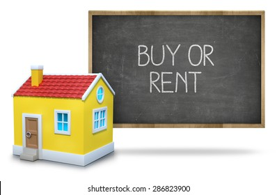 Buy or rent on black Blackboard with 3d house
