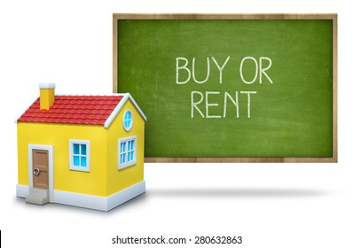 Buy or rent on green Blackboard with 3d house
