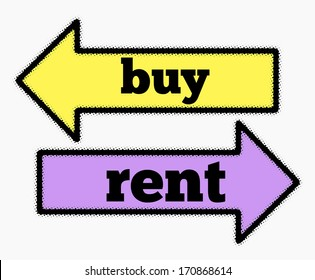 Buy and rent signs in yellow and purple arrows concept