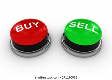 BUY and SELL Buttons on White Background
