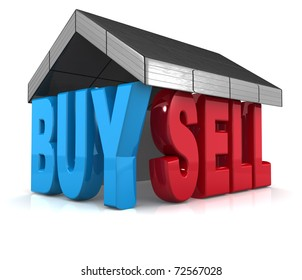 Buy sell property concept 3d illustration