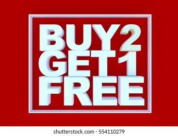 Buy two get one free on red background