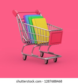 Buying of Books Concept. Shopping Cart with Stack of Books on a pink background. 3d Rendering