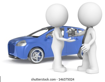 Buying a Car. The Dude getting car keys from dealer. Blue no branded car.