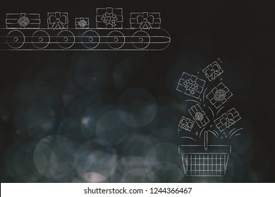 buying gifts and promotions concept: presents on production line falling into shopping basket