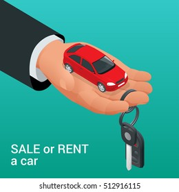 Buying or renting a new or used red and speedy sports car. Dealer giving keys chain to a buyer hand. Modern flat style isometric illustration isolated on background.
