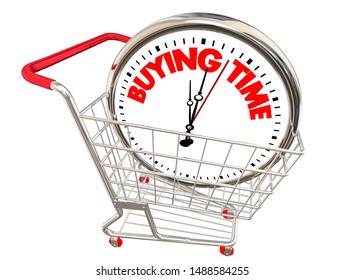 Buying Time Shopping Cart Clock 3d Illustration