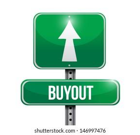 buyout road sign illustration design over white