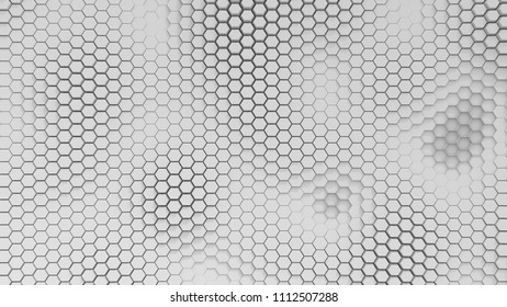 BW hexagrid background with soft sea waves.