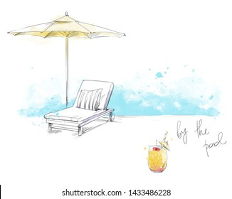 By the pool. Sunbed and unbrella with refreshing cocktail