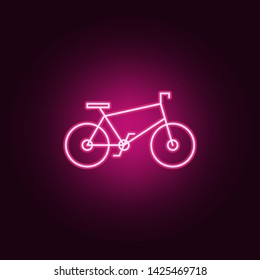 Bycicle neon icon. Elements of ecology set. Simple icon for websites, web design, mobile app, info graphics