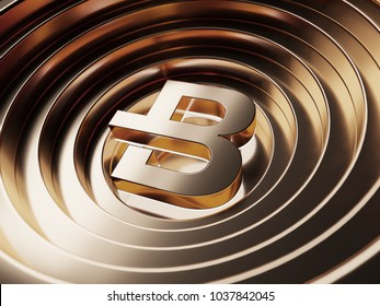Byte Coin crypto currency symbol in the center of the bronze circles. 3D illustration of Byte Coin logo with metallic reflections on the bronze circles background.